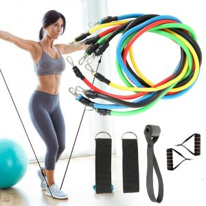 11pcs Fitness Pull Rope Resistance Bands Latex Strength Gym  Workout Equipment (kit)