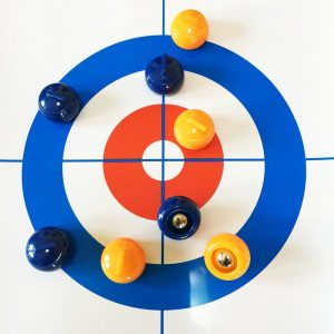 Tabletop Curling Game Compact  School Curling Training Game Set (Blue)