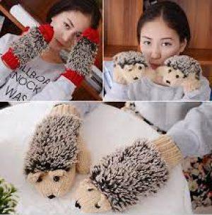 Winter Gloves Hedgehog Mittens for Women Knit Warm Fitness New 8 Colors Girls Novelty Cartoon Heated Villus Wrist