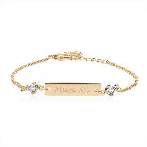 3UMeter Crystal Baby Bracelet Gold Color 25*6 mm Bar Personalized Custom Name Engraved Bracelet Graduation Gift Jewelry Gift