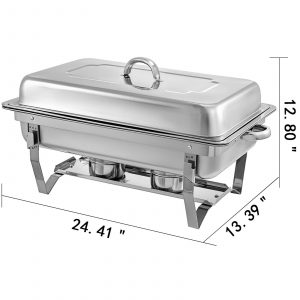 Food Chafing Dishes 4 Pieces with 9L Stainless Steel Full Size Chafer Buffet Water Pan Fuel Holder and Lid For Catering Warmer